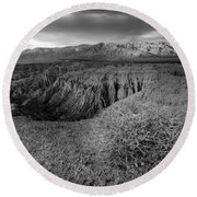 Font's Point Bush   Black And White Round Beach Towel