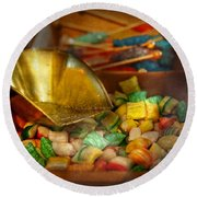Food - Candy - One Scoop Of Candy Please  Round Beach Towel