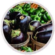 Food - Farm Fresh - Eggplant And Peppers Round Beach Towel