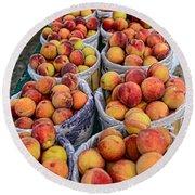 Food - Harvested Peaches Round Beach Towel