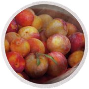 Food - Peaches - Farm Fresh Peaches  Round Beach Towel by Mike Savad