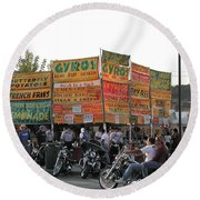 Food Selection In Sturgis Round Beach Towel