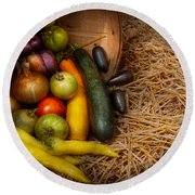 Food - Vegetables - Very Early Harvest Round Beach Towel