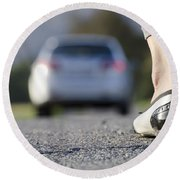 Foot And Car Round Beach Towel