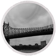 Foot Traffic On The Bridge Only Round Beach Towel
