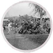 Football Game, 1912 Round Beach Towel