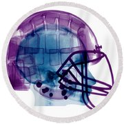 Football Helmet X-ray Round Beach Towel