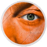 Football Scars Round Beach Towel by Semmick Photo