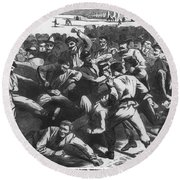 Football: Soldiers, 1865 Round Beach Towel