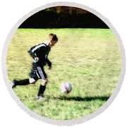 Footballer Round Beach Towel