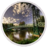Footbridge Over The Severn  Round Beach Towel
