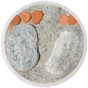 Footprints Round Beach Towel