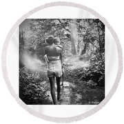 For Thou Art With Me Round Beach Towel
