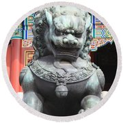 Forbidden City Lion Guardian Round Beach Towel