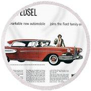 Ford Cars: Edsel, 1957 Round Beach Towel