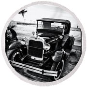 Ford Model T Film Noir Round Beach Towel by Bill Cannon