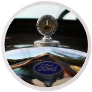 Ford Model T Hood Ornament Round Beach Towel