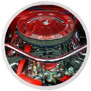 Ford Mustang Engine Bay Round Beach Towel