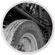 Ford Tractor Details In Black And White Round Beach Towel