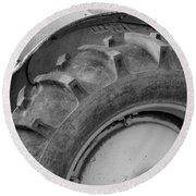 Ford Tractor In Black And White Round Beach Towel