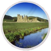 Fore Abbey, Co Westmeath, Ireland Round Beach Towel