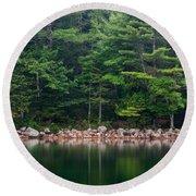 Forest At Jordan Pond Acadia Round Beach Towel
