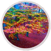 Forest Color Leaves Round Beach Towel