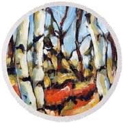 Forest Edge By Prankearts Round Beach Towel