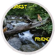 Forest Friends Sharing A Log Over A Creek On Mt Spokane Round Beach Towel