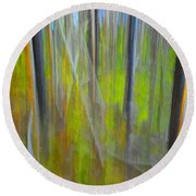 Forest Impression Photographic Image Yellowstone No. 2135. Round Beach Towel
