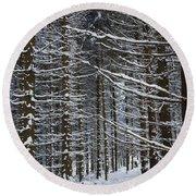 Forest Of Marburg In Winter Round Beach Towel