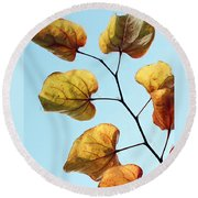 Forest Pansy Autumn Round Beach Towel