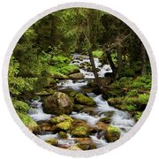 Forest Stream In Tatra Mountains Round Beach Towel