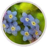 Forget-me-not Flower Round Beach Towel