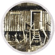 Forgotten Wooden House Round Beach Towel