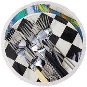 Forks On Checker Plate Round Beach Towel