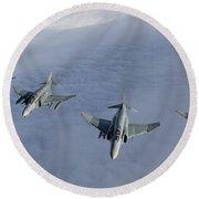 Formation Of Luftwaffe F-4f Phantom IIs Round Beach Towel