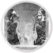 Forsyth Fountain - Black And White 4 Round Beach Towel