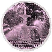 Forsyth Park Fountain In Pink Round Beach Towel