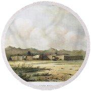 Fort Bridger, Wyoming, 1852 Round Beach Towel