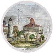 Fort Dearborn, 1830 Round Beach Towel