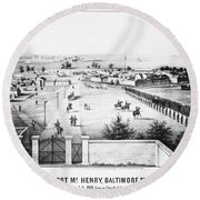 Fort Mchenry, 1862 Round Beach Towel