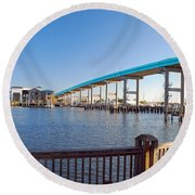Fort Myers Bridge Round Beach Towel