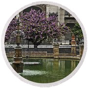 Fountain And Tree Round Beach Towel
