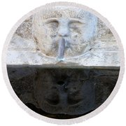Fountain Face Round Beach Towel