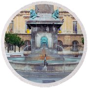 Fountain In Arles France Round Beach Towel