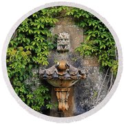 Fountain In The Walled Garden, Florence Round Beach Towel