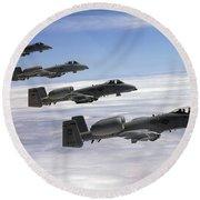 Four A-10 Thunderbolt IIs Fly Round Beach Towel