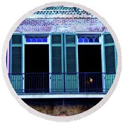 Four Balcony Windows Round Beach Towel