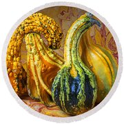 Four Gourds Round Beach Towel